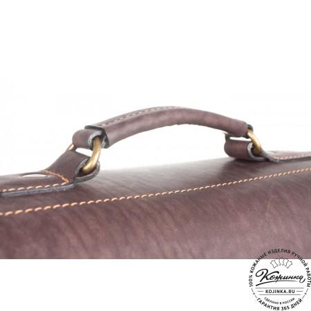 """Кожаный портфель """"Вояджер"""" (коричневый) - 4"""