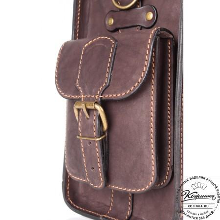 """Кожаный портфель """"Вояджер"""" (коричневый) - 6"""