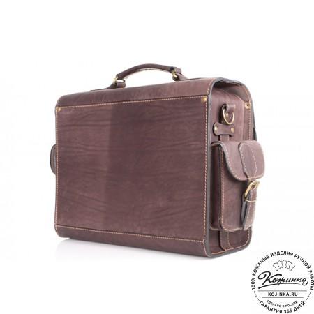 """Кожаный портфель """"Вояджер"""" (коричневый) - 8"""