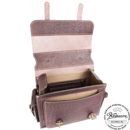 """Кожаный портфель """"Вояджер"""" (коричневый) - 11"""