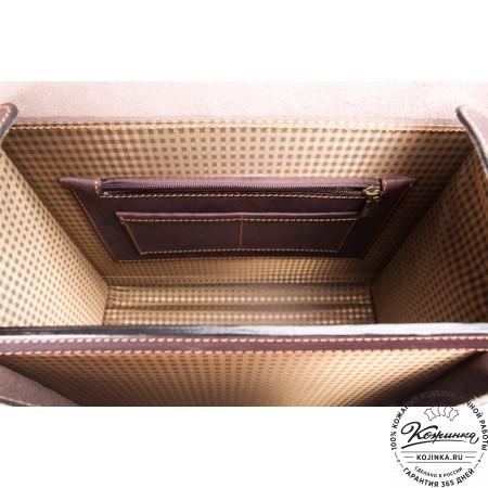 """Кожаный портфель """"Вояджер"""" (коричневый) - 12"""