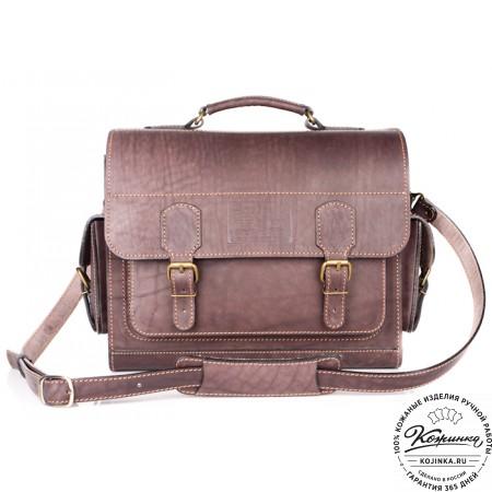 """Кожаный портфель """"Вояджер"""" (коричневый) - 13"""
