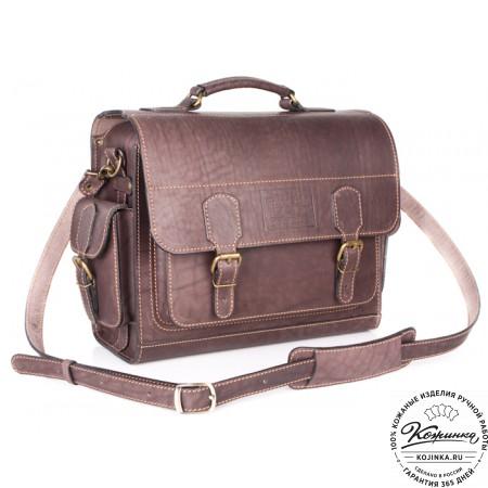 """Кожаный портфель """"Вояджер"""" (коричневый) - 14"""