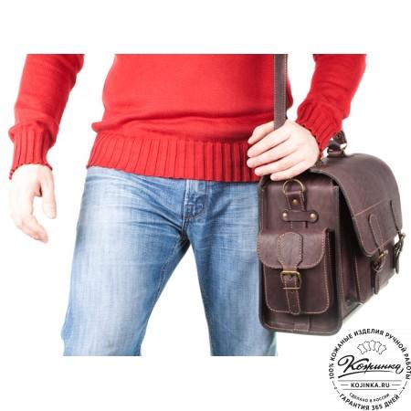 """Кожаный портфель """"Вояджер"""" (коричневый) - 15"""