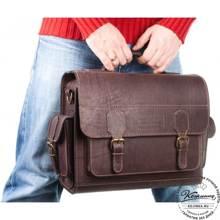 """Кожаный портфель """"Вояджер"""" (коричневый) - 16"""