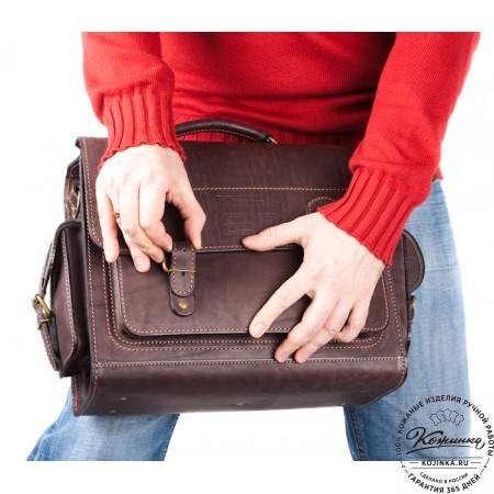 """Кожаный портфель """"Вояджер"""" (коричневый) - 18"""