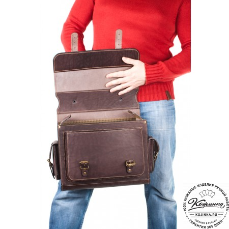 """Кожаный портфель """"Вояджер"""" (коричневый) - 17"""