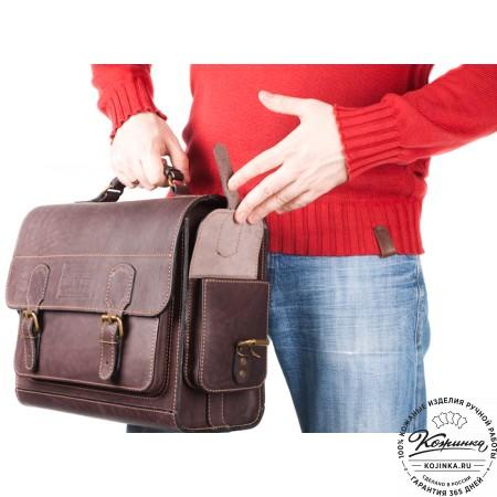 """Кожаный портфель """"Вояджер"""" (коричневый) - 19"""