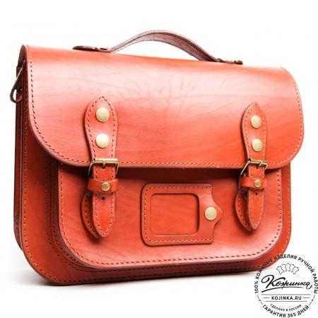 """Кожаный портфель """"Сатчел""""  (коричнево-розовый)"""