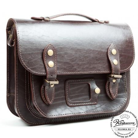 """Кожаный портфель """"Сатчел""""  (тёмно-коричневый)"""