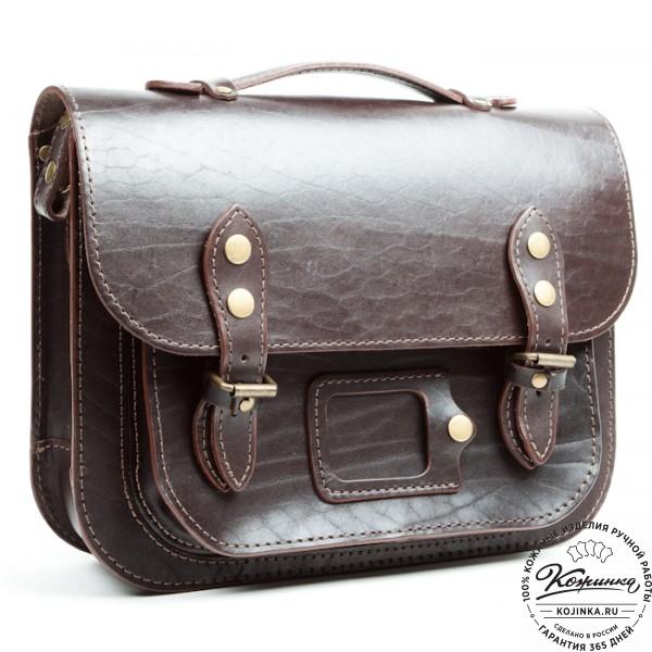 """Кожаный портфель """"Сатчел""""  (тёмно-коричневый). фото 1"""