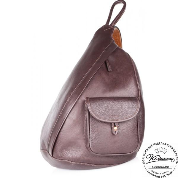 """Кожаный рюкзак """"Эль-Пасо"""" c карманом (коричневый). фото 1"""
