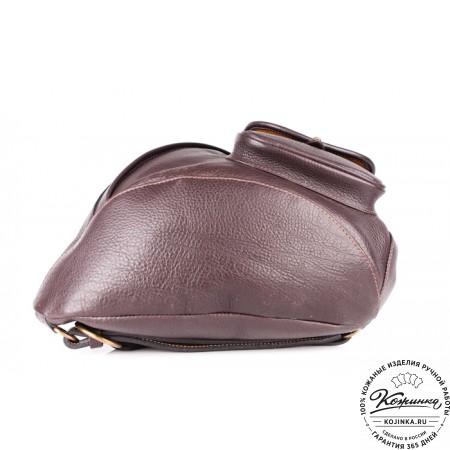 """Кожаный рюкзак """"Эль-Пасо"""" c карманом (коричневый)"""