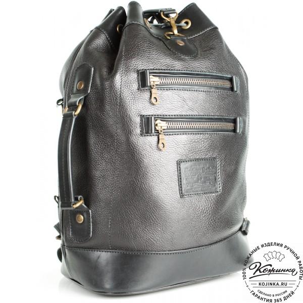 """Кожаный рюкзак """"СаШе"""" (чёрный). фото 1"""