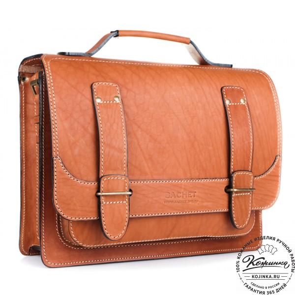 """Кожаный портфель """"Француз"""" (тёмно рыжий). фото 1"""
