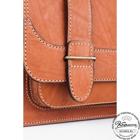"""Кожаный портфель """"Француз"""" (тёмно рыжий) - 8"""
