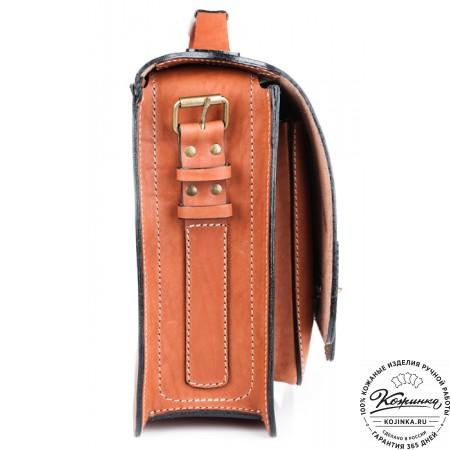 """Кожаный портфель """"Француз"""" (тёмно рыжий) - 9"""