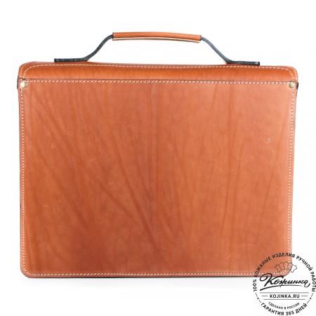 """Кожаный портфель """"Француз"""" (тёмно рыжий) - 11"""