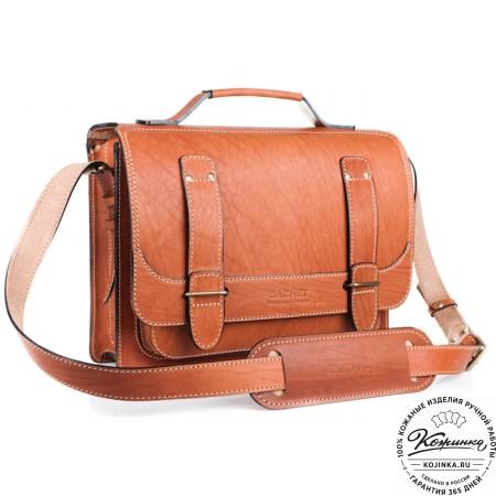 """Кожаный портфель """"Француз"""" (тёмно рыжий) - 6"""