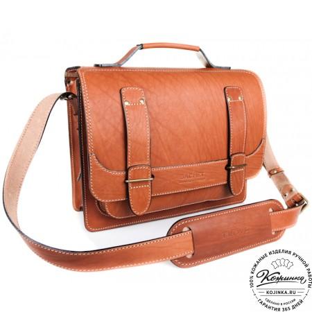 """Кожаный портфель """"Француз"""" (тёмно рыжий) - 7"""