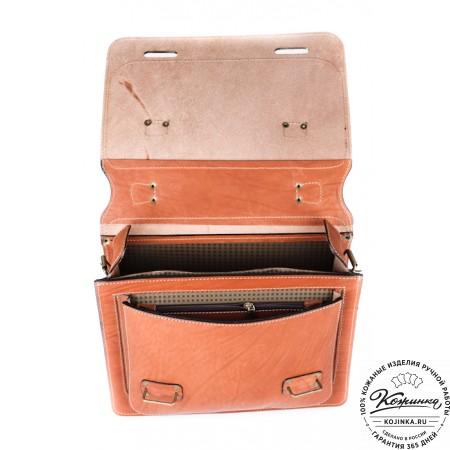 """Кожаный портфель """"Француз"""" (тёмно рыжий) - 5"""