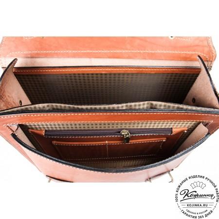 """Кожаный портфель """"Француз"""" (тёмно рыжий) - 3d модель"""