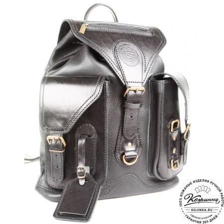 """Кожаный рюкзак """"Стиль 1"""" (чёрный) - 11"""