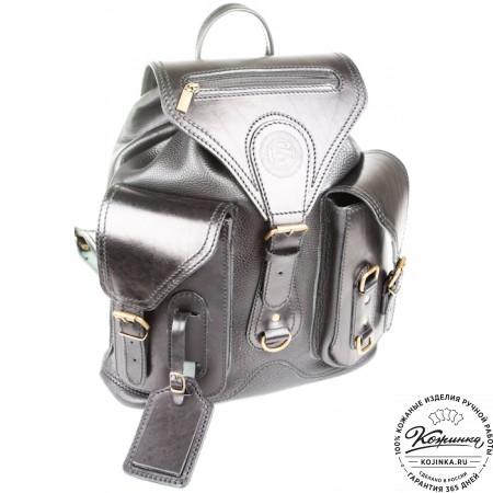 """Кожаный рюкзак """"Стиль 1"""" (чёрный) - 4"""