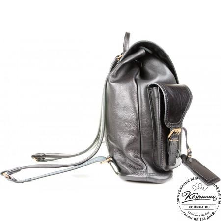 """Кожаный рюкзак """"Стиль 1"""" (чёрный) - 13"""