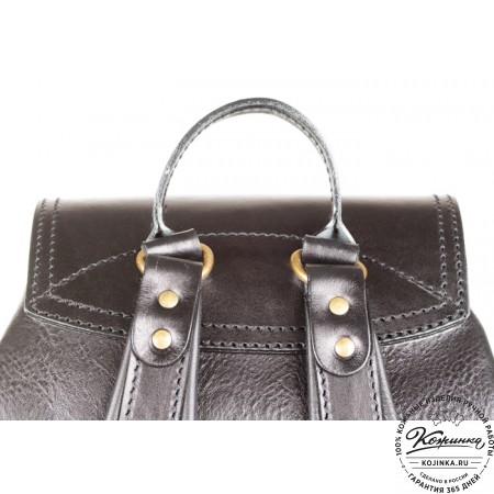 """Кожаный рюкзак """"Стиль 1"""" (чёрный) - 8"""