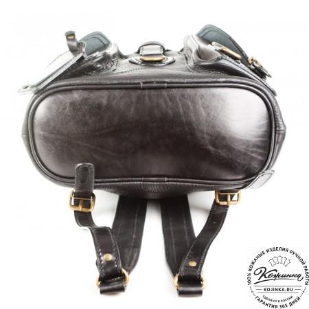 """Кожаный рюкзак """"Стиль 1"""" (чёрный) - 6"""