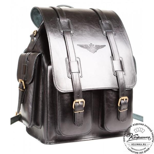 """Кожаный рюкзак """"Пехотинец"""" (чёрный). фото 1"""
