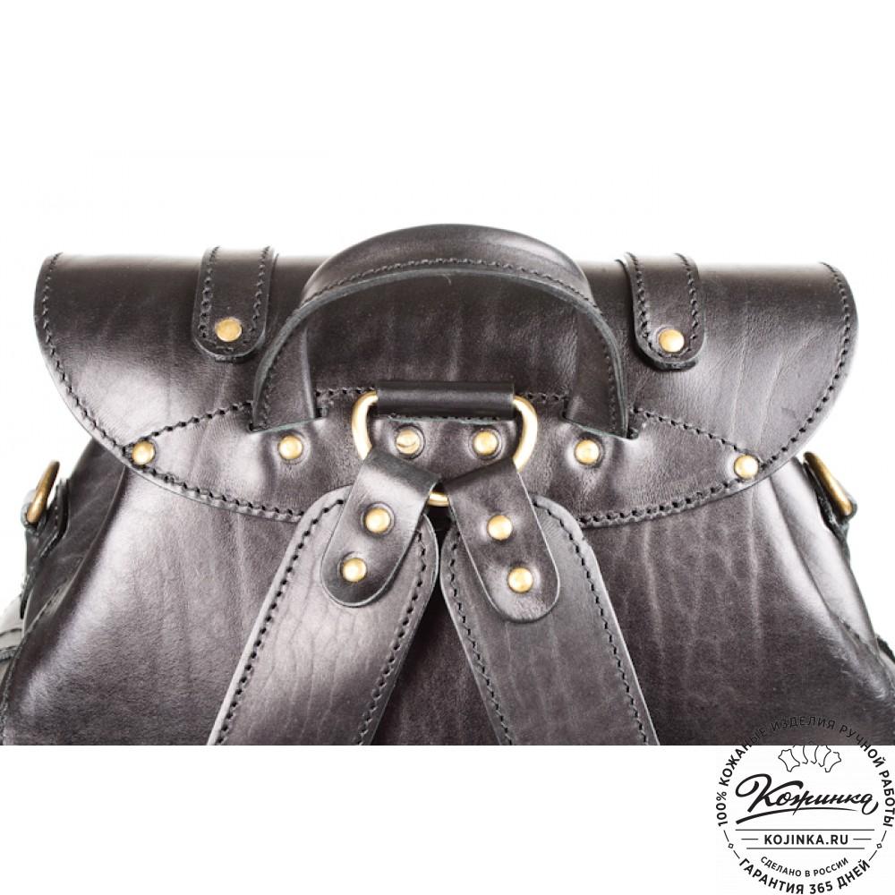 """Кожаный рюкзак """"Пехотинец"""" (чёрный)"""