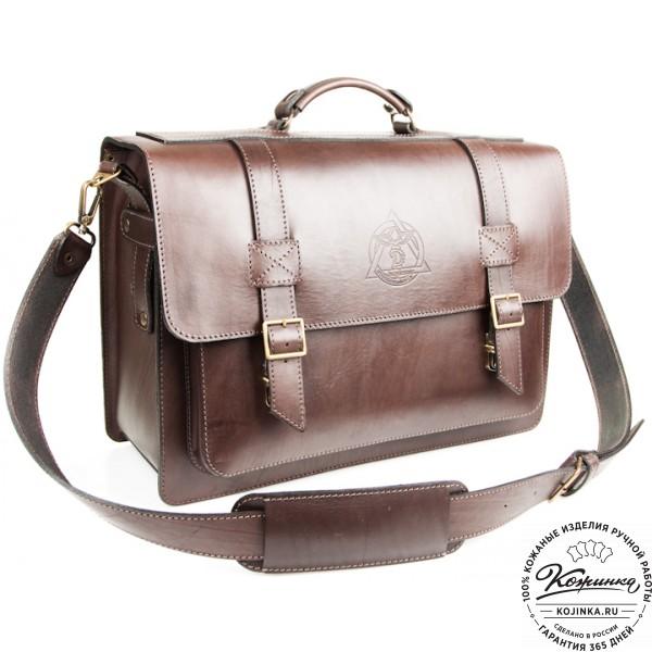 """Кожаный портфель ручной работы """"Академик"""" (коричневый). фото 1"""