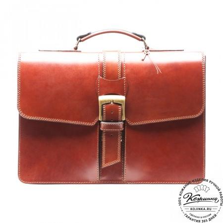 """Кожаный портфель ручной работы """"Директор"""" (тёмно-рыжий) - 8"""