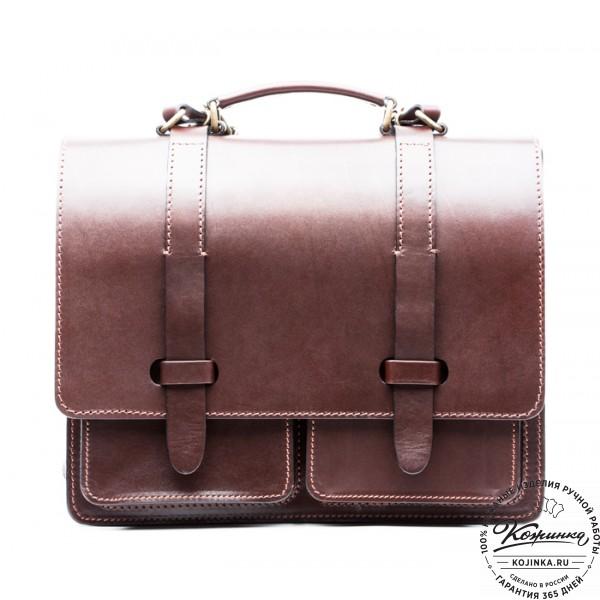 """Деловой кожаный портфель """"Сингл-Нью"""" (коричневый). фото 1"""