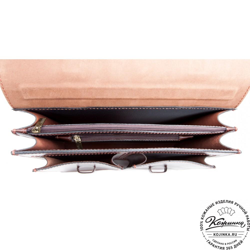 """Деловой кожаный портфель """"Сингл-Нью"""" (коричневый)"""