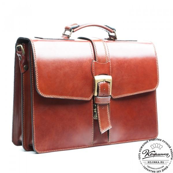 """Кожаный портфель ручной работы """"Директор"""" (тёмно-рыжий). фото 1"""