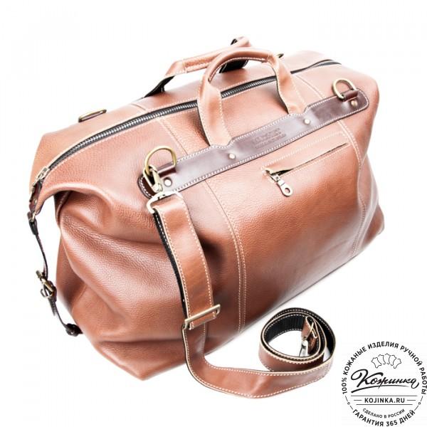 Кожаная дорожная сумка (коричневая). фото 1