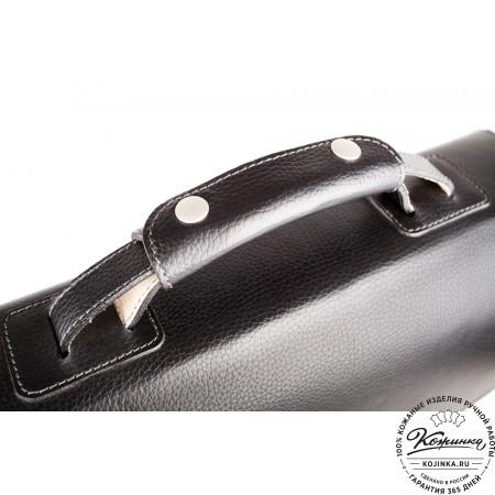 """Кожаный портфель ручной работы """"Марсель"""" (чёрный) - 10"""