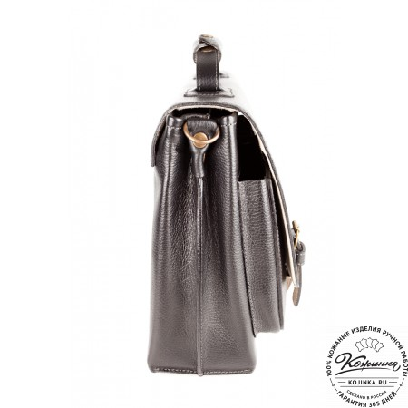 """Кожаный портфель ручной работы """"Рональд"""" (чёрный) - 11"""