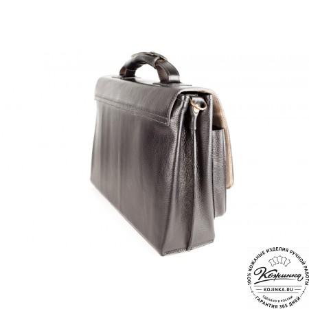 """Кожаный портфель ручной работы """"Рональд"""" (чёрный) - 4"""