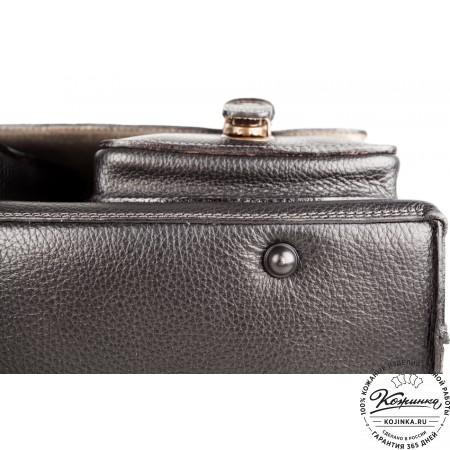 """Кожаный портфель ручной работы """"Рональд"""" (чёрный) - 5"""