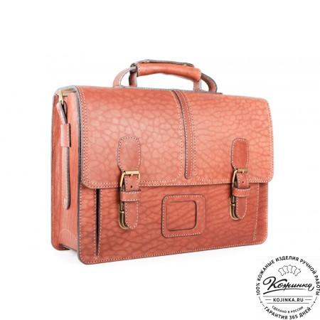 """Кожаный портфель ручной работы """"Уран II"""" (коричневый) - 8"""