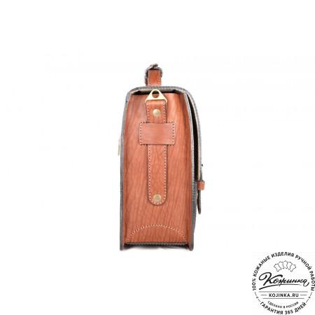 """Кожаный портфель ручной работы """"Уран II"""" (коричневый) - 7"""