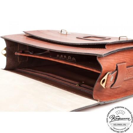"""Кожаный портфель ручной работы """"Уран II"""" (коричневый) - 11"""