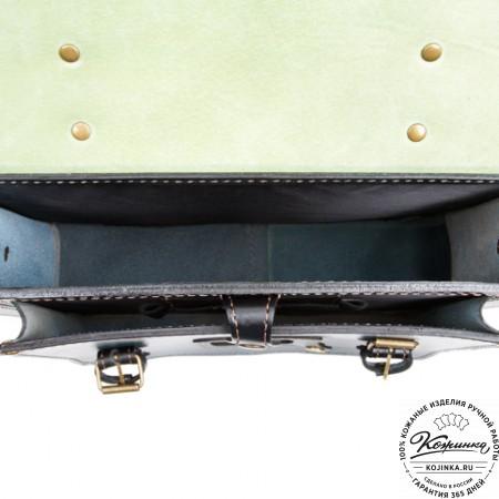 """Кожаный портфель """"Сатчел""""  (чёрно-голубой) - 10"""