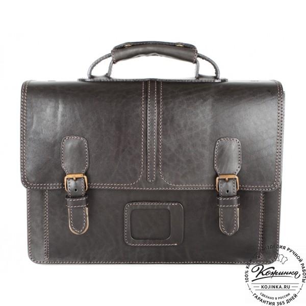 """Кожаный портфель ручной работы """"Уран II"""" (чёрный). фото 1"""
