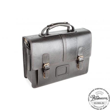 """Кожаный портфель ручной работы """"Уран II"""" (чёрный) - 8"""