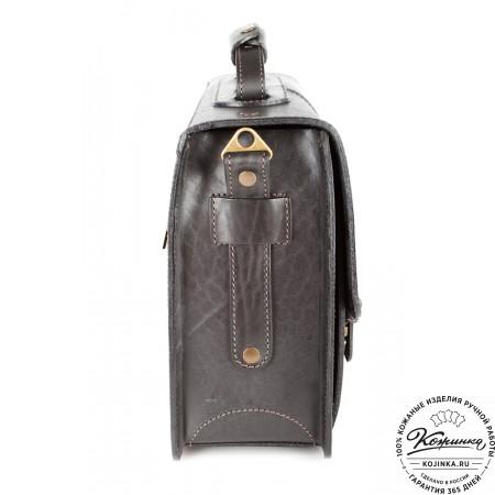 """Кожаный портфель ручной работы """"Уран II"""" (чёрный) - 4"""